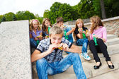 Students with fast food — Stock Photo