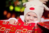 Baby in deer hat — Stock Photo