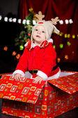 Baby in Santa costume — Stock Photo