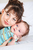 Closeup portrait of mum and baby — Stock Photo