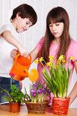 Děti, zalévání květin — Stock fotografie