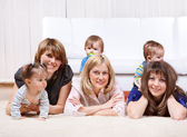 Three mothers with kids — Stock Photo