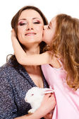 Child kissing mother — Stock Photo