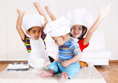 Kids in cook costumes — Stock Photo