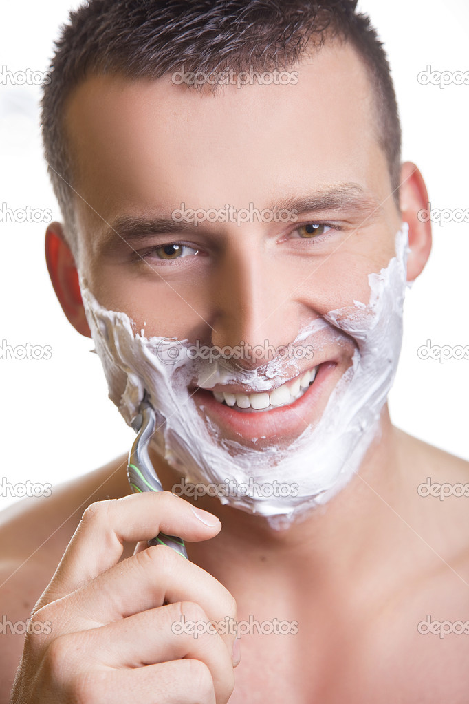 Shaving man with grin smile — Stock Photo #5489612