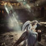 Two beautiful angel women — Stock Photo