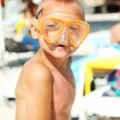 Boy in diving mask - Stock Photo