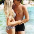 Romantic couple kissing on the seaside — Stock Photo #5608707
