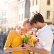 Cute hansome couple on date - Stock Photo