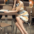 Beautiful businesswoman talking on the phone — Stok fotoğraf
