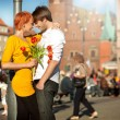 Handsome couple in love on a date — Stockfoto