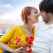 Young happy smiling attractive couple together outdoors — Stok fotoğraf