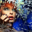Colorful portrait of a beautiful redhead woman - Foto de Stock