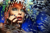 Colorful portrait of a beautiful redhead woman — Stock Photo