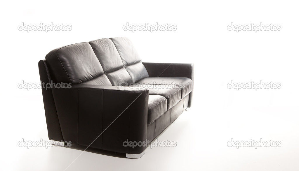 Isolated black couch against white background — Stock Photo #5691150