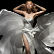 Gorgeous female model wearing white dress - Foto Stock
