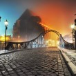 Beautiful view of the old town bridge at night - 图库照片