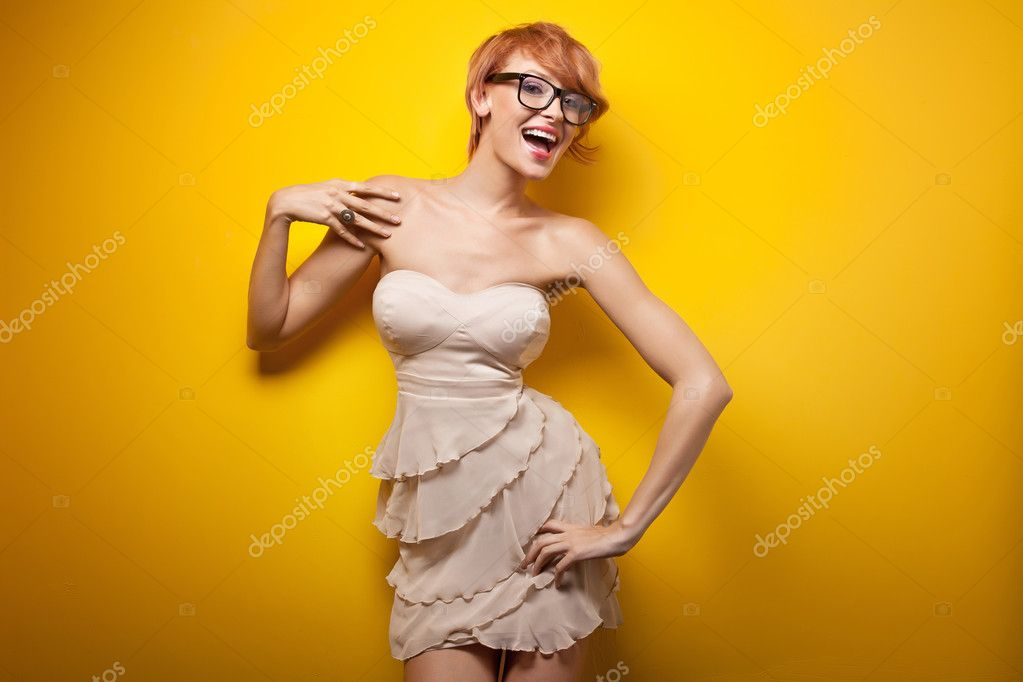 Happy woman wearing glasses — Stock Photo #5827410