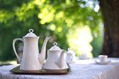 Coffee table in a garden — Stock Photo
