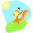 Stock Vector: Squirrel springtime
