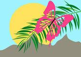 Fjäril på palm — Stockvektor