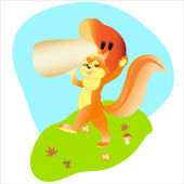 Squirrel by autumn — Vector de stock