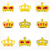 Set of crowns royal vector — Stock Photo