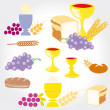 Stock Photo: Set of Illustration of communion depicting traditional Christisymbols