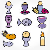 Set of Illustration of a communion depicting traditional Christian symbols — Stock Photo