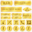 Stock Photo: Vector Old golden plates and signboards