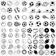 Set Ball sports icons symbols comic vector illustration — Stock Photo