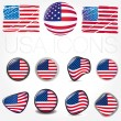 Stock Vector: american flag symbols icons buttons vector illustration usa