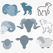 Sheep vector set — Stockvektor
