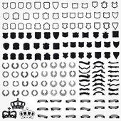 Vettore imposta scudi simboli araldici nastri corone — Vettoriale Stock