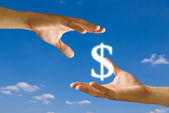 Two hands share the Dollar icon together — Stock Photo