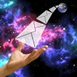 Stock Photo: Letter send from earth in Orion and space