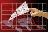 Email send money from America map with crisis of stock exchange background — Stock Photo
