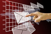 Finger pushing the email with the down of stock's exchange crisis — Foto Stock