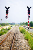 Traffic light for train and railway, Thailand — Stock Photo
