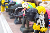 Elephant sculpture and flower for worship — Stock Photo