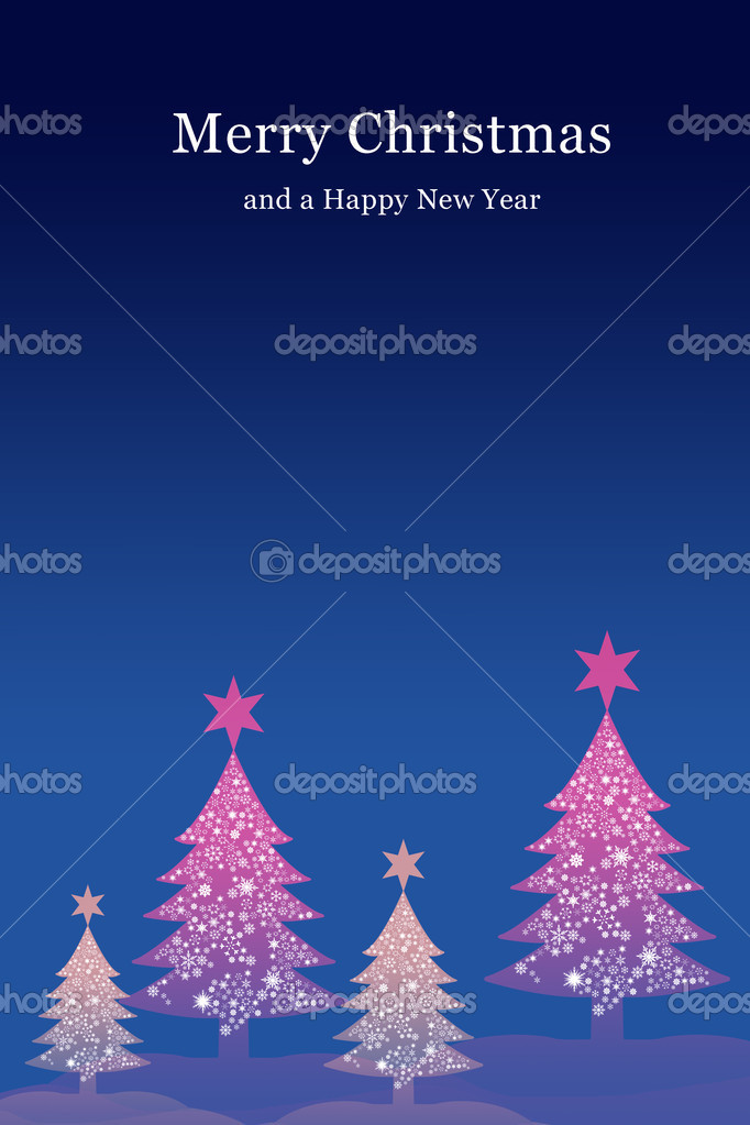Purple christmas tree with night sky background, Christmas card background — Stock Photo #6555519