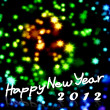 Stock Photo: Happy New Year 2012 word with nice starry background, Greeting card backgro
