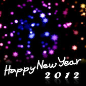 Happy New Year 2012 word with nice starry background — Stock Photo