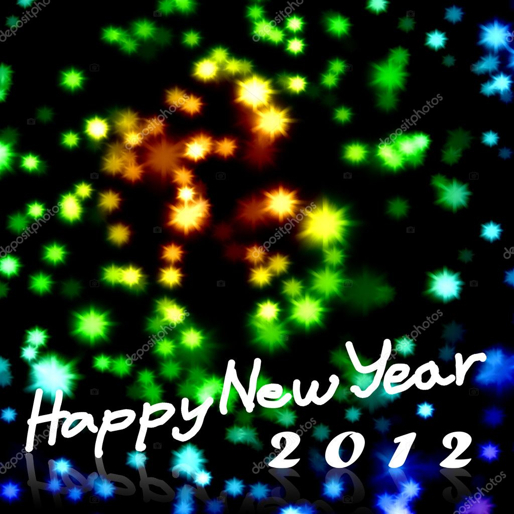 Happy New Year 2012 word with nice starry background, Greeting card background — Lizenzfreies Foto #6587682