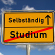 German road sign study and freelancer — 图库照片