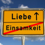 Постер, плакат: German road sign loneliness and love