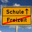 German road sign Leisure School - Stock Photo