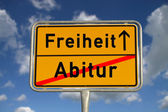 German road sign graduation and freedom — Stock Photo