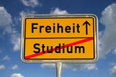 German road sign study and freedom — Stock Photo