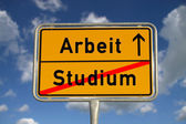 German road sign study and work — Stock Photo